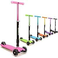 3StyleScooters Patinete de tres ruedas de tracción natural, para niños a partir de 5 años, con luces led en las ruedas, plegable, con manillar ajustable, ligero, color rosa