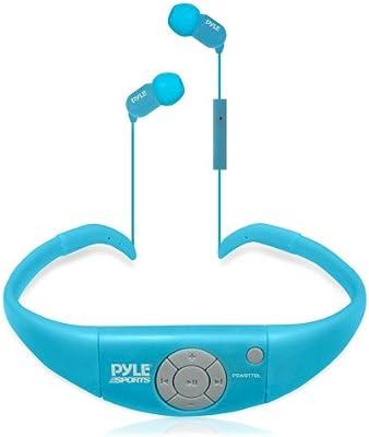 Pyle PSWBT7BL - Audífonos impermeables con Bluetooth, color azul cielo