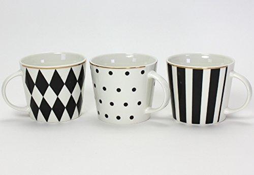 Schwarz, Weiß, Kaffee (Werner Voß 3er Set Porzellan Becher SCHWARZ weiß Service Geschirr Goldrand Kaffee Tasse Mug)