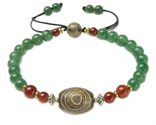 Elegante Dunkelgrün Jade-Armband mit 3 Augen DZI Perlen, 6 mm grüne Jade, Länge 7 Zoll -Fortune Feng Shui Schmuck