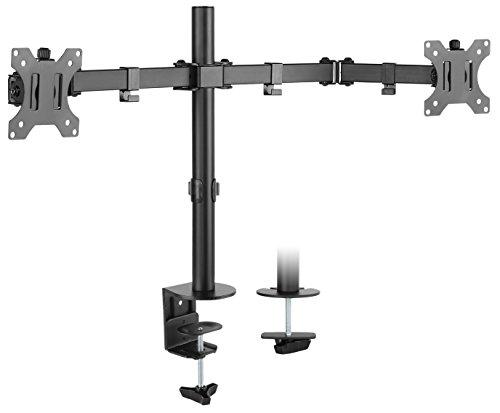 """RICOO Universal Monitor Halterung 2 Bildschirme TS6711 Schwenkbar Neigbar Dual Monitorhalterung Tischhalterung LCD LED TFT Curved 4K Bildschirmhalterung VESA 75x75 100x100 33-81cm 13\""""-32\"""" Schwarz"""