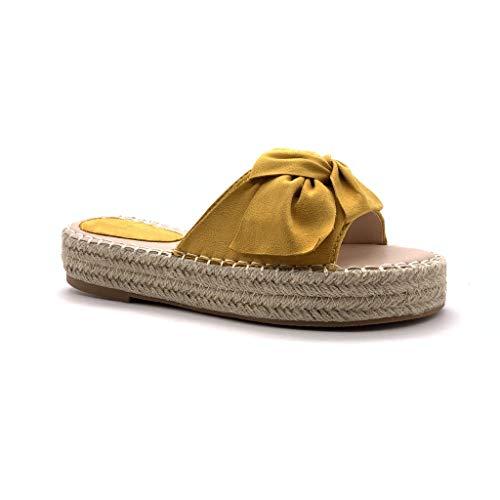 Angkorly - scarpe moda espadrillas mules folk/etnico spiaggia infradito donna nodo con paglia intrecciato tacco tacco piatto 3.5 cm - ingiallimento tt-61 t 39