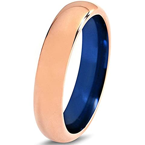 Tungsten Wedding Band Ring 6mm for Men Women Blue 18k Rose Gold Domed Polished Lifetime Guarantee
