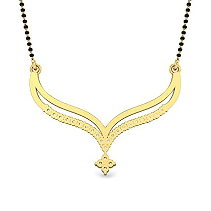 Candere By Kalyan Jewellers Vanshika 14k Yellow Gold and Diamond Mangalsutra Necklace