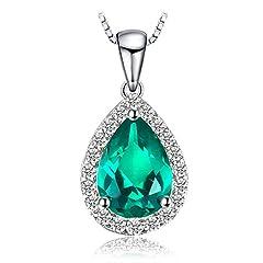 Idea Regalo - JewelryPalace Donna Gioiello Moda 0.7ct Nano Russo Artificiale Verde Smeraldo Collana con Ciondolo 925 Argento Sterling 45cm