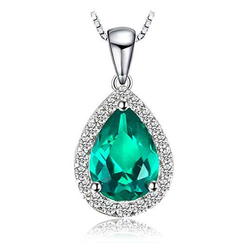 JewelryPalace Fashion 0.7ct Nano Russisch Simulierter Smaragd Anhänger 925 Sterling Silber -