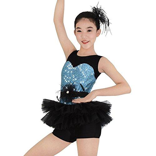 MiDee Mädchen Tank Top Illusion Pailletten Ballett Ballettröckchen Kostüm Tanz Outfits (Himmelblau, (Billig Outfits Cheerleading)
