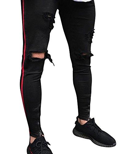 Kasen uomo jeans design della personalità strappati sguardo distrutto stretti pantaloni nero s