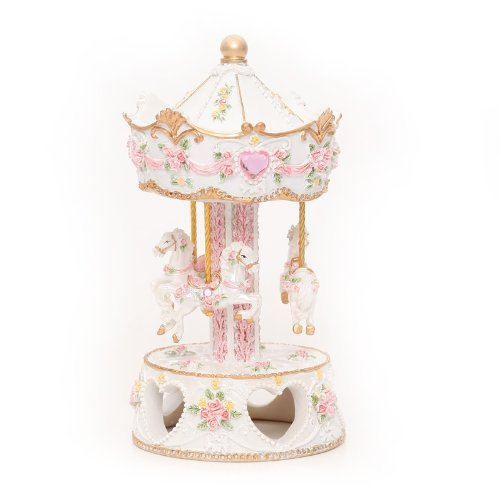 Laxury 3-Pferd Karussell Spieldose, Spielen die Melodie the Castle in the Sky (Modell: Mp-902b, Keramisches Material)