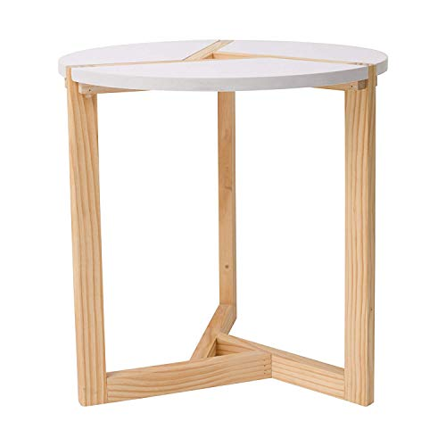 Rebecca Mobili RE4941 Table Basse, Ronde, en Bois, Beige/Blanc, Design Contemporain, séjour Chambre