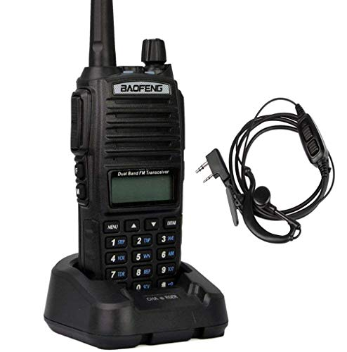 Mengshen Baofeng UV-82 Funkgeräte Handfunkgerät WalkieTalkie High-Powered Bigger Battery Than Others Dual-Band 136-174/400-520 MHz FM Ham Radio Long Range + Dual PTT Headset, Transceiver UV-82