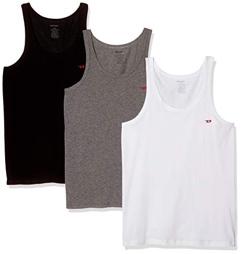 Diesel Herren Top UMTK-JOHNNYTHREEPACK (3er Pack), Mehrfarbig (Dark Grey Mélange/Black/Bright White E3843-0Wavc), M