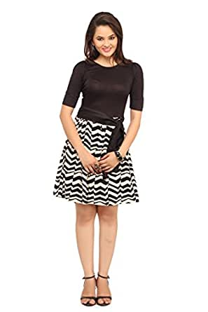 cottinfab Women's Cotton A-line Dress (7070B_S_Black and Creme_Small)