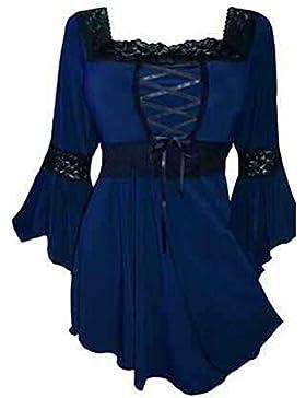 Mujeres Blusa Plus Gothic - Mujeres Sexy Otoño Irregular Cuadrado Cuello Manguito Camisetas Tops Jumper Camiseta...