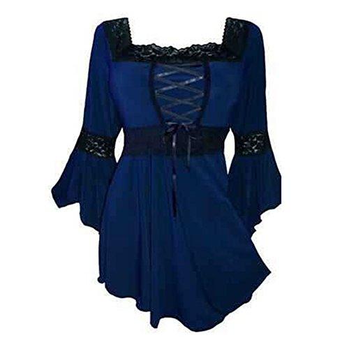 Damen Bluse Übergröße Tops - Square Neck Shirt Flare Hülsen Oberteile Solide Tshirt Gothic Pullover Hoodie Hemd Schwarz Dunkelblau Yying