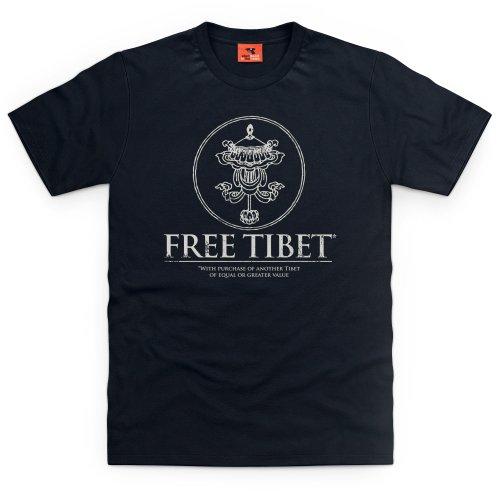 Free Tibet T-Shirt, Herren, Schwarz, 5XL (Schwarz Free T-shirt Tibet)