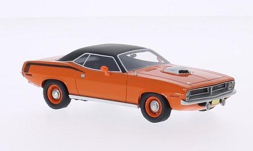 Plymouth cuDa 426 Hemi, arancione/nero opaco, 1970, modello di automobile, modello prefabbricato, BoS-Modelos 1:43 Modello esclusivamente Da Collezione - Plymouth Cuda