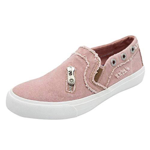 POIUDE Einzelne Schuhe Damen Weiche Flache Knöchel Einzelne Schuhe Leinwand Denim-Reißverschluss Freizeitschuhe(Rosa, 41)