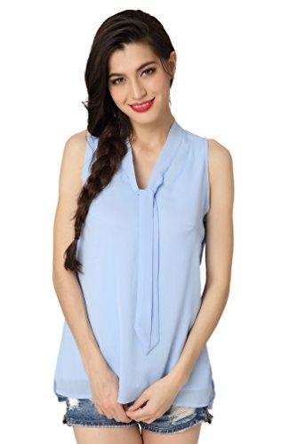 Abollria Damen Ärmellose Bluse Chiffon Weste Elegant Sommer Top V-Ausschnitt Kragen mit Schleife Lufig Leicht Perfekt für Sommer