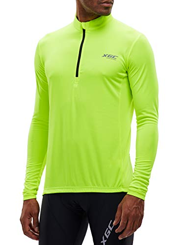 Herren Langarm Radtrikot Fahrradtrikot Radshirt Fahrradshirts Fahrradbekleidung für Männer mit Elastische Atmungsaktive Schnell Trocknen Stoff (Green, XXXL)