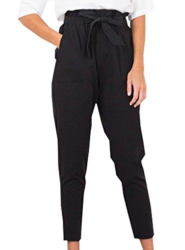 Autunno Primavera Donna Adatti I Pantaloni Vita Alta Della di Colore Solido Slim Casual Pants Avere Una Cintura Leggings Pants Nero
