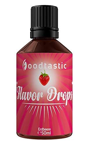 Foodtastic Flavor Drops Erdbeere 50ml | Flavdrops Aroma Tropfen | kalorienfrei Süßen I ohne Zucker | Lebensmittelaroma Flavour Drops Flave Drops Geschmackstropfen