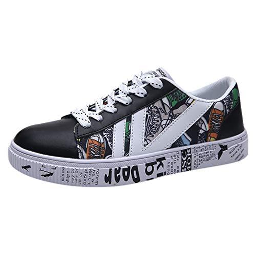 JiaMeng Uomo Sneaker, Scarpe da Corsa, Scarpe da Ginnastica Uomo Sportive Fitness Running Casual Nero (Nero,EU 39)