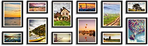 Wall-Mounted Home Mall-Moderne Bilderrahmen Wand |Kombinierte Bilderrahmen |für Flur Wohnzimmer |Set von 12 (Farbe: Style1-Schwarz)