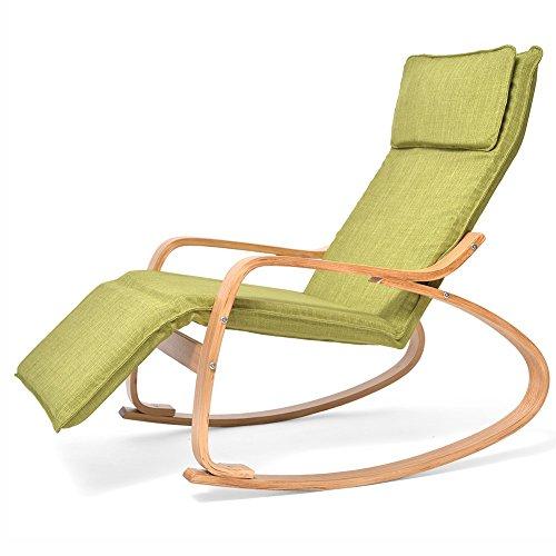YIXINY Deckchair Cy-13 Solid Wood Moderne Minimalistische Einfarbige Baumwolle Leinen Kann Montiert Werden Komfort Kissen Aus Holz Schaukelstuhl ( Farbe : Grün ) (Schaukelstuhl-kissen Grün)