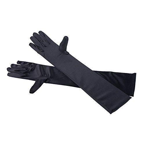 Schwarz Handschuhe Länge Ellenbogen (TRIXES Satin Damen Ellenbogen Handschuhe lang schwarz Abendgarderobe)
