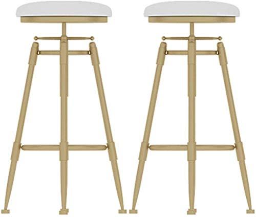LLT Bar, Cafe, Restaurant Stuhl, Barhocker Pub Barhocker Dining Chair Für Frühstück Küchentheke Bistro Café, Sitz Swivel White Velvet Kissen Höhenverstellbarer 70-85Cm,Set 2 -
