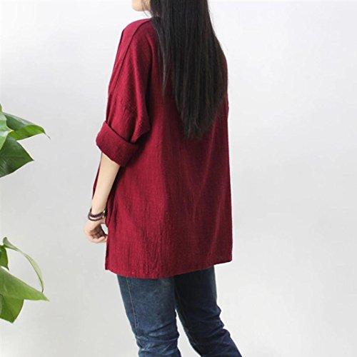 Oyedens Taglia Grossa Maglietta T-Shirt Da Donna Casual Manica Lunga O-Collo Sciolto Abbigliamento Donna Camicetta Moda Tops Plus Size Vino