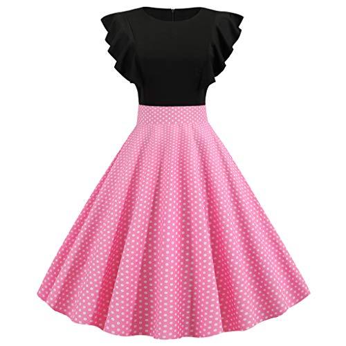 Writtian Damen elegant 55er Jahre Petticoat Kleider Gepunkte Rockabilly Kleider Cocktailkleider Rundhalsausschnitt Rüschen Cocktailkleider Ruffled Jersey Dress