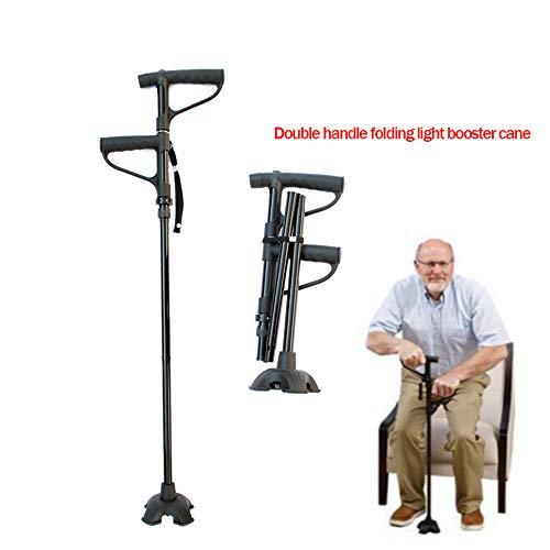 Gehstöcke Einziehbar Leichter Booster Cane Falten Doppelgriff Alter Mann Armlehnen Lichtstock Ausgleichende Mobilitätshilfe Für Behinderte Und Ältere Menschen