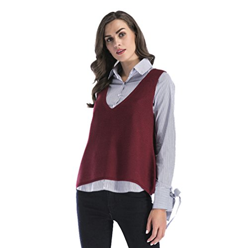 NiSeng Damen Strick Pullunder Ärmellos Lang Weste V-Ausschnitt Sweater Pullover Casual Sweatshirt Ärmellos Burgund M