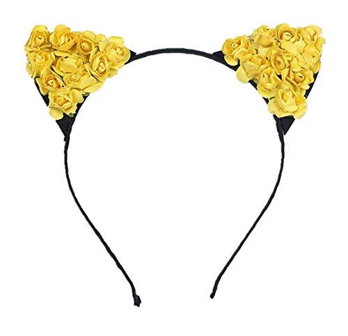 Cheerlife Damen Mädchen Blume Haarreif Cosplay Katzenohren Haarband Blumen Stirnband Halloween Weihnachten Festival Party Kopfband Kostüm Accessories Gelb (Halloween Kränze)