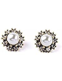 Manvik Fashionable Cubic Zircon Crystals Glamorous Pearl Stud Earring For Women And Girls