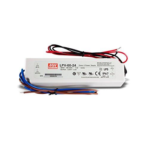 LED Netzteil Trafo Mean Well LPV-60-24 Schaltnetzteil, 24V / 2,5A / 60W IP67 LED Transformator für LED Beleuchtung