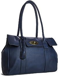 c1e8af0430 Big Handbag Shop Womens Vegan Leather Top Handle Designer Boutique Tote Shoulder  Bag - Large