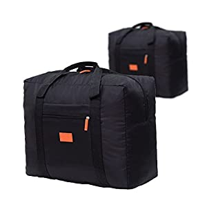 Cestval Folding Luggage Bag Lightweight Portable Hand Baggage Foldable Travel Tote Duffel Bag Clothing Packing Organizer For Sport Carrying On Suitcase Cabin Wheeled Holdall 2 Pcs