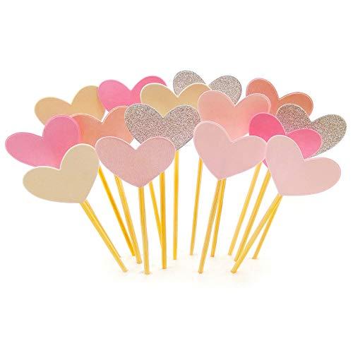Cupcake-Topper, 50 Stück, Guguji, lustiges rosa Herz, DIY Glitzer, Mini-Geburtstagskuchen, Snack-Dekorationen, Picks, Lieferanten, Party-Zubehör für Hochzeit und Babyparty