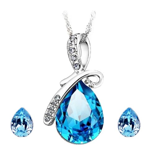 Cyan Bow Style Crystal Jewelry Set for Girls  available at amazon for Rs.299