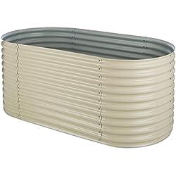 blumfeldt High Grow Carré Potager surélevé plantations (2 m, Alliage Zinc-Aluminium résiste efficacement aux intempéries, Travail Confortable en Hauteur) - Beige