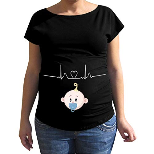 Umstandsmoden T-Shirt Piebo Kurzarm Umstandsshirt Mutterschaft Klassische T-Shirt Tops Mama Schwangerschaft Kleidung Baby-Thema Motiv Oberteil Mutterschaft ()