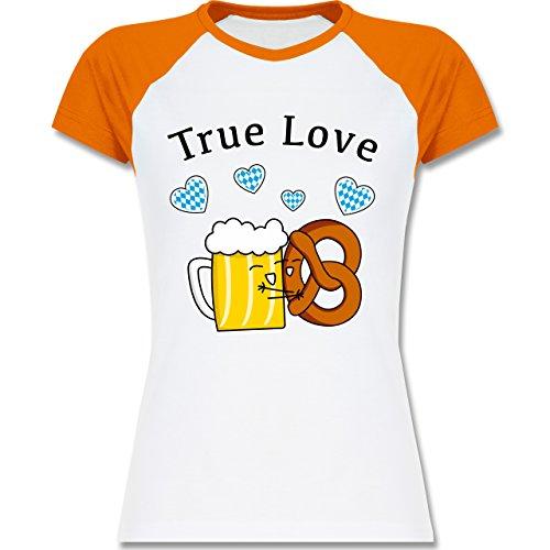 Shirtracer Oktoberfest Damen - True Love- Bier und Breze - Zweifarbiges Baseballshirt/Raglan T-Shirt für Damen Weiß/Orange
