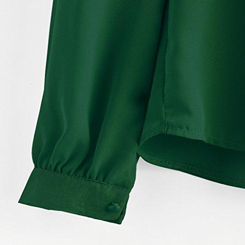 Ulanda-EU - Top à manches longues - Tendance - Femme noir XL green