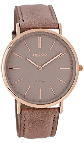 Oozoo Unisex Datum klassisch Quarz Uhr mit Leder Armband C7332