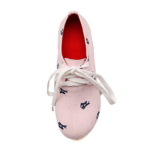 VogueZone009 Femme Lacet Rond à Talon Correct En Tissu Couleurs Mélangées Chaussures Légeres Rose