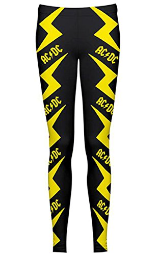Ufficiale con Logo AC/DC con design All-Over Printed Leggings nero Large