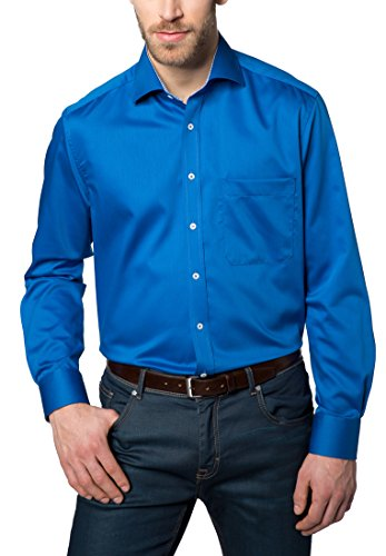 Eterna Long Sleeve Shirt Comfort Fit Fancy Weave Structured Blu reale